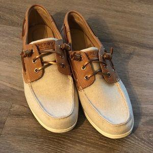 NIB - Sperry Sparkle Linen Boat Shoe - 10